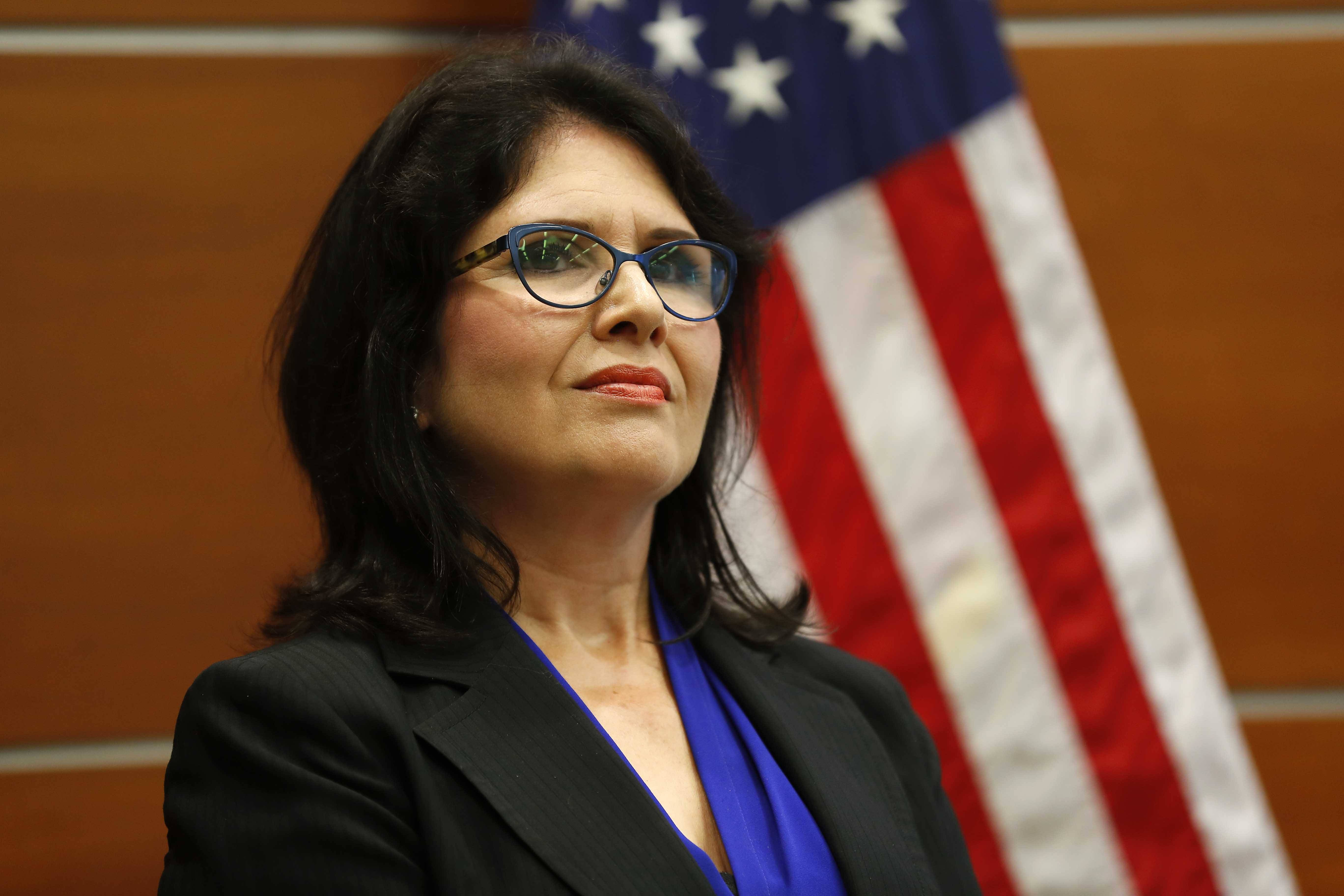 Lt. Gov. Evelyn Sanguinetti recognized 20 examples of consolidated government services throughout the state Tuesday at the Hoffman Estates Police Department.
