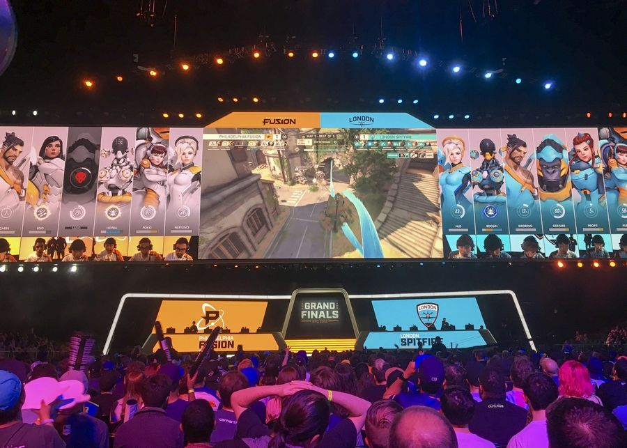 """Overwatch,"" a multiplayer team-based combat game, has become so popular that professional teams play it in packed stadiums. Fans last Friday watched the Philadelphia Fusion and London Spitfire compete in the Overwatch League Grand Finals' first night of competition at the Barclays Center in New York."