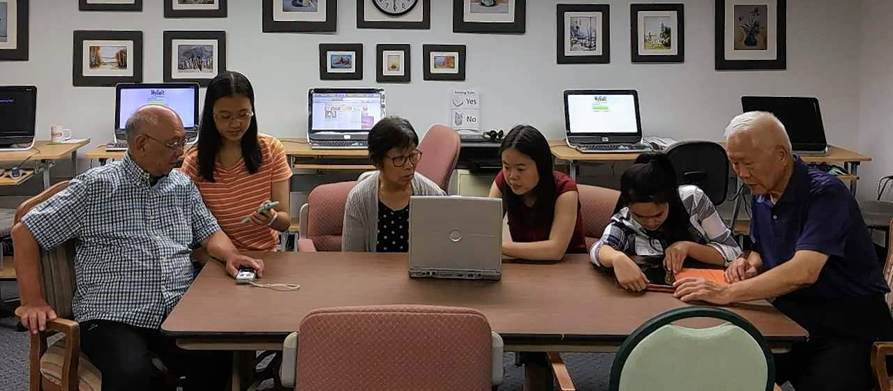 Members of Team STEM for All meet with seniors at Greencastle of Barrington to assist them with technology. From left are Xi Wei, Alisa Wang, Yun Ding, Emily Lu, LeAnne Lin, and Chuanxi Jiang.