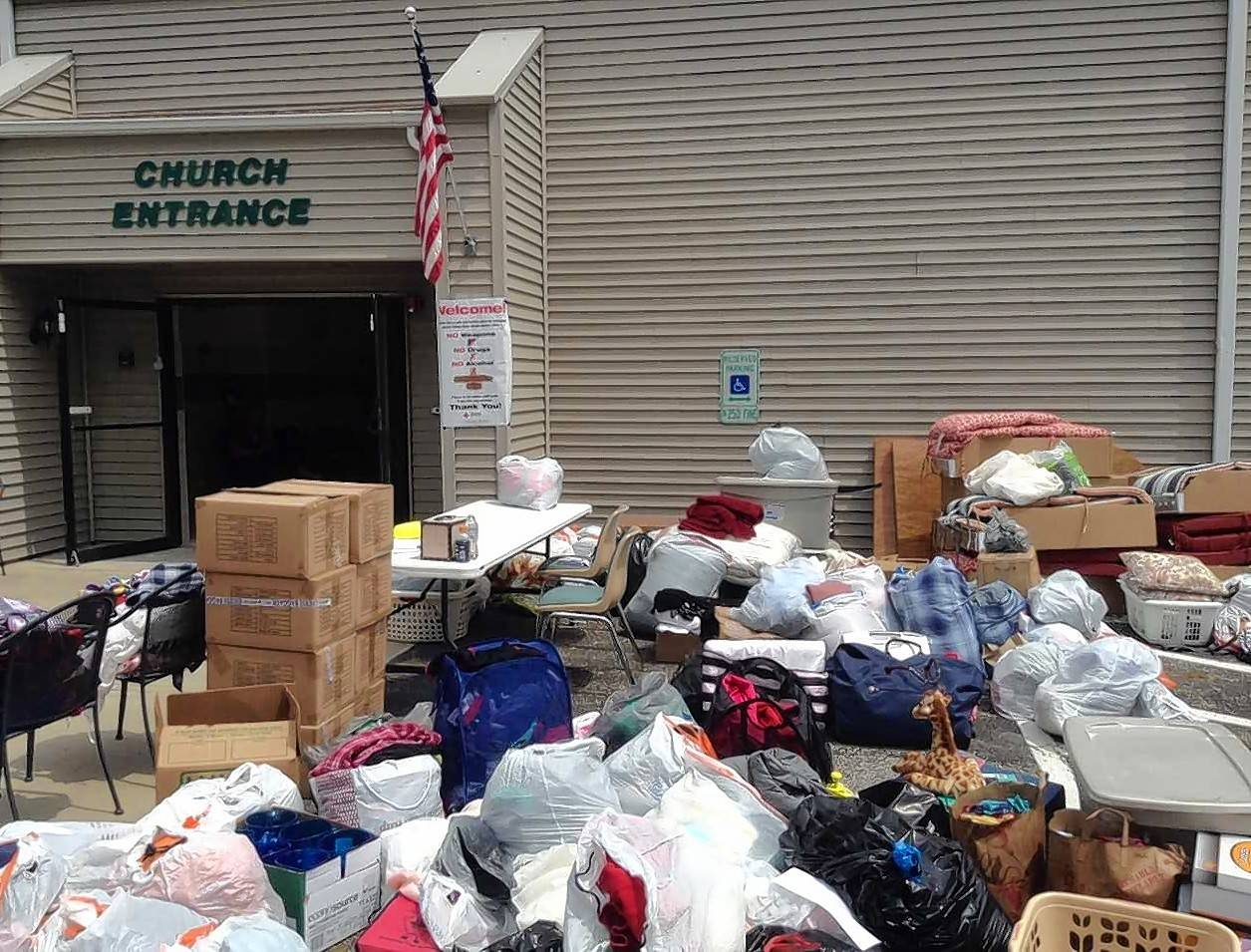 Donated items, which were being left at Lakewood Chapel in Arlington Heights the day after a major fire at the River Trail Condominiums in Prospect Heights last month, will be given away at the chapel from 10 a.m. to 8 p.m. Thursday, Aug. 2 through Saturday, Aug. 4.