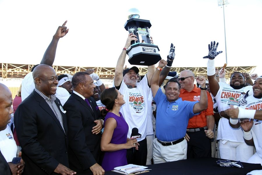 Old Dominion players celebrate their Bahamas Bowl victory over Eastern Michigan on Dec. 23, 2016. Elk Grove Village is sponsoring the game, scheduled for Dec. 21 this year, marking the first time a non-tourist municipality has sponsored such a game.