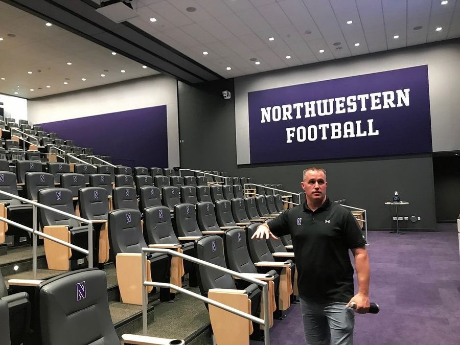 Northwestern head football coach Pat Fitzgerald is thrilled with the new meeting room at the Walter Athletics Center in Evanston. The facility sits on the north end of the campus along the Lake Michigan Shoreline.