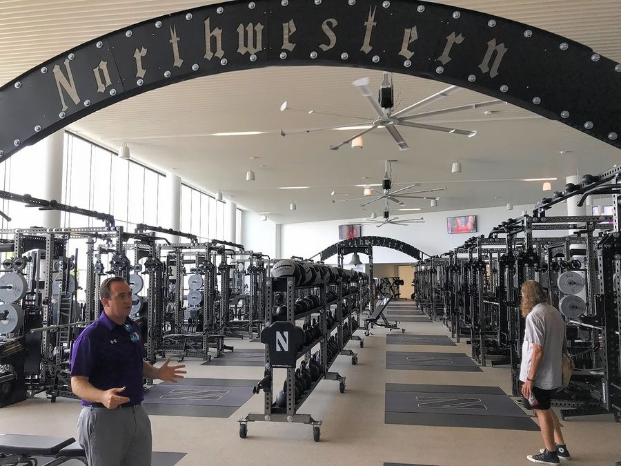 Northwestern's new Walter Athletics Center in Evanston offers a state-of-the-art weight training center for student athletes. The facility sits on the north end of the campus along the Lake Michigan shoreline.