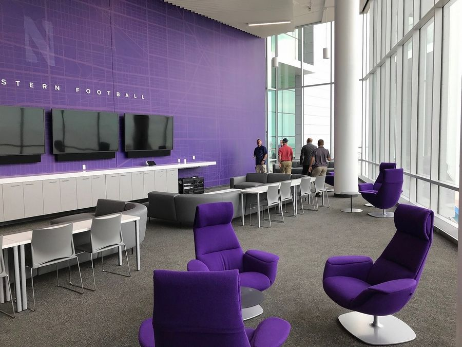 Northwestern's new Walter Athletics Center in Evanston also includes a lounge area for student athletes. The facility sits on the north end of the campus along the Lake Michigan shoreline.