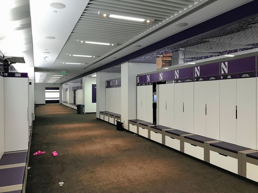 The new locker room for Northwestern athletes at the Walter Athletics Center in Evanston. It sits on the north end of the campus along the Lake Michigan shoreline.