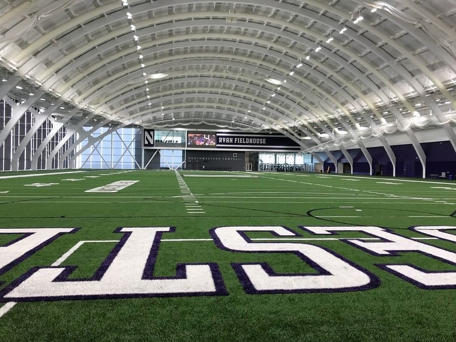 Northwestern's new indoor practice field at the Walter Athletics Center in Evanston. It sits on the north end of the campus along the Lake Michigan shoreline.