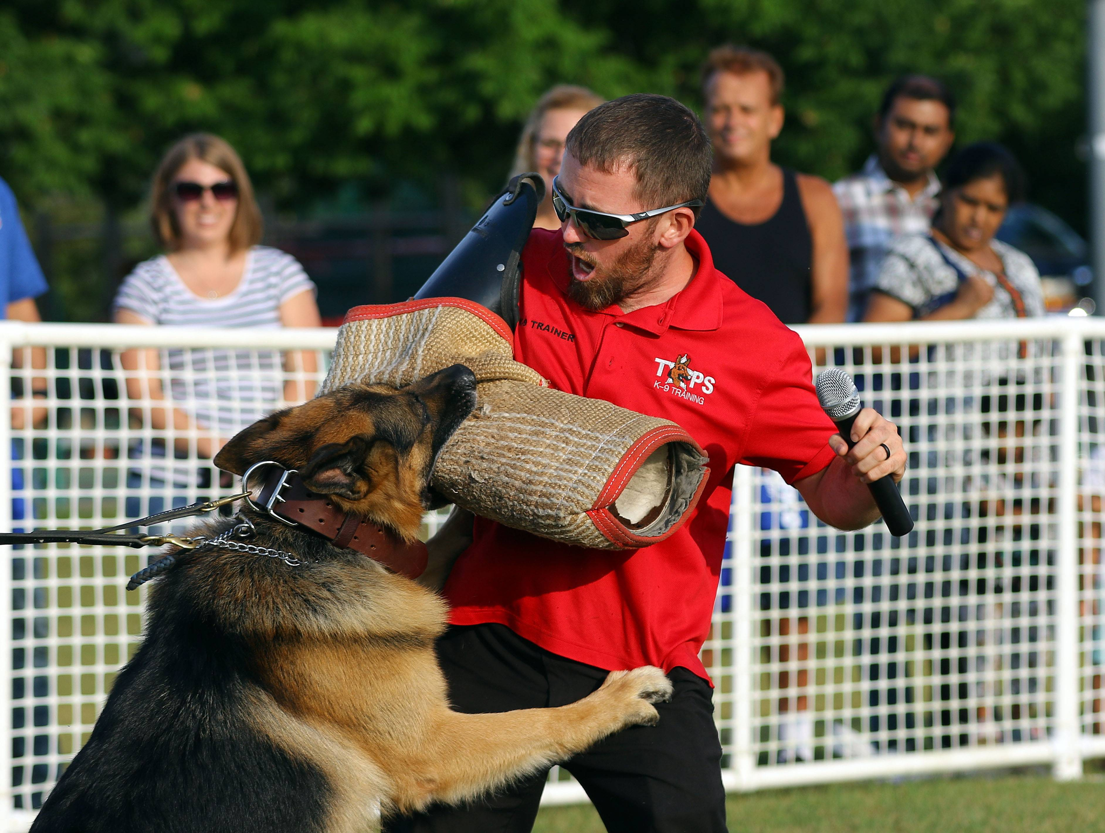 T.O.P.S. trainer Derek Collins puts on a demonstration with police dog Odin during Lincolnshire's annual National Night Out festivities at North Park Friday.