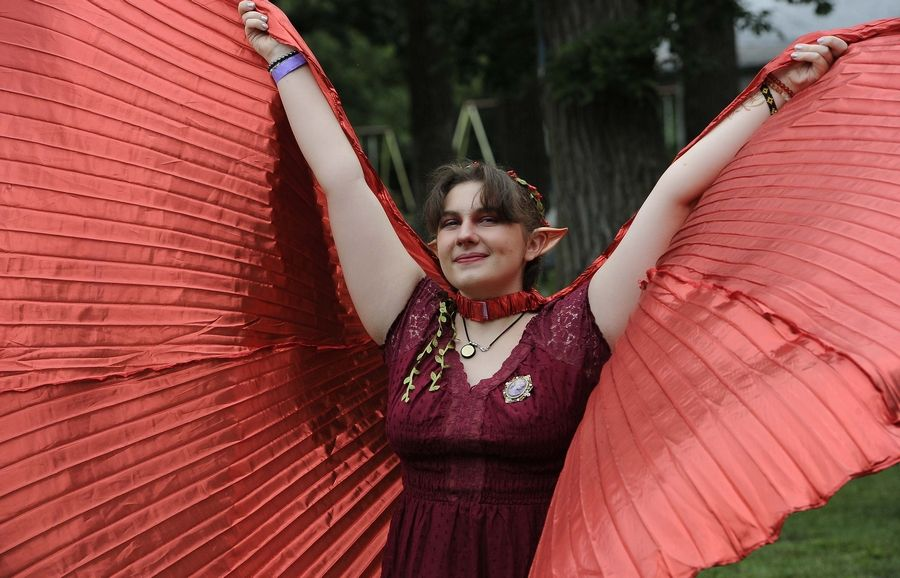Rachel Michalak, 16, of Minooka attended the World of Faeries Festival in South Elgin on Sunday with other mythical creatures and water fairies.