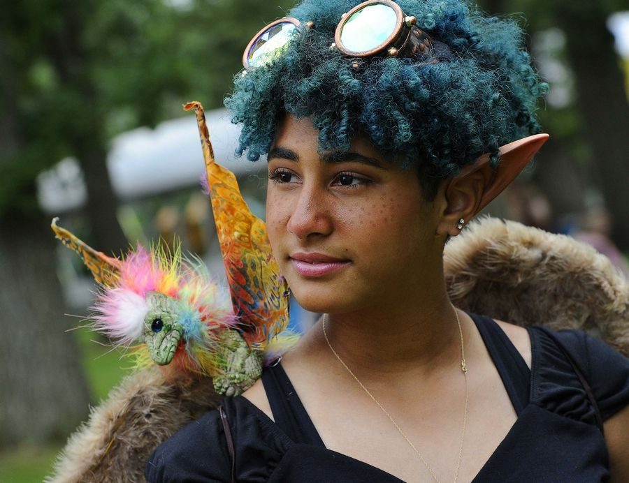 Demiana Presto-Martin, 13, of Justice at the World of Faeries Festival in South Elgin on Sunday.