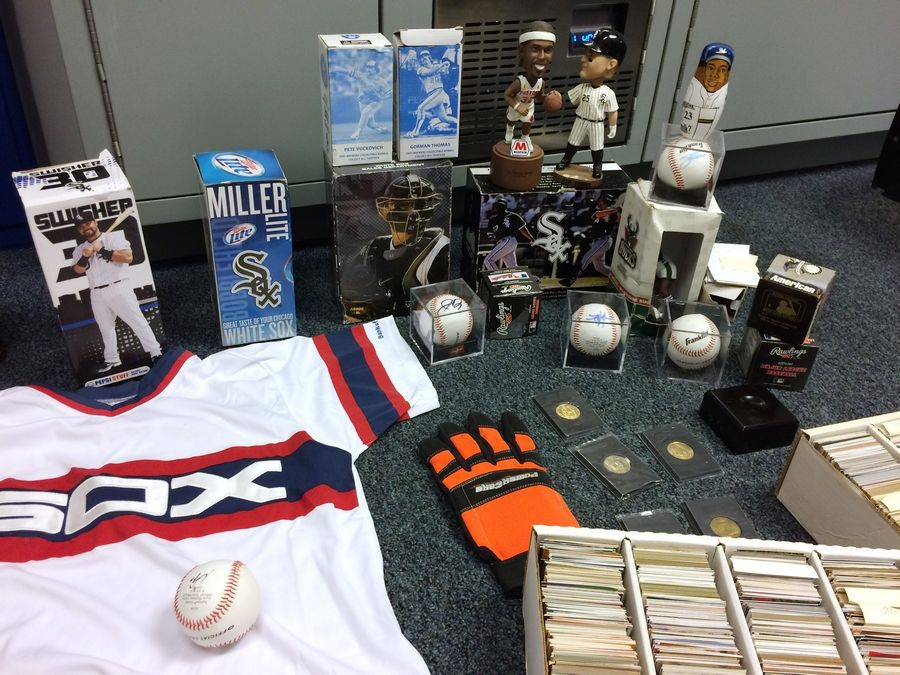 A variety of sports memorabilia turned over to Libertyville police last September has been stored at the station.