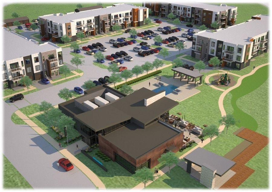 The 259-unit apartment complex in a development proposed for Warrenville would have seven three-story buildings, a clubhouse, detached garage buildings and surface parking.