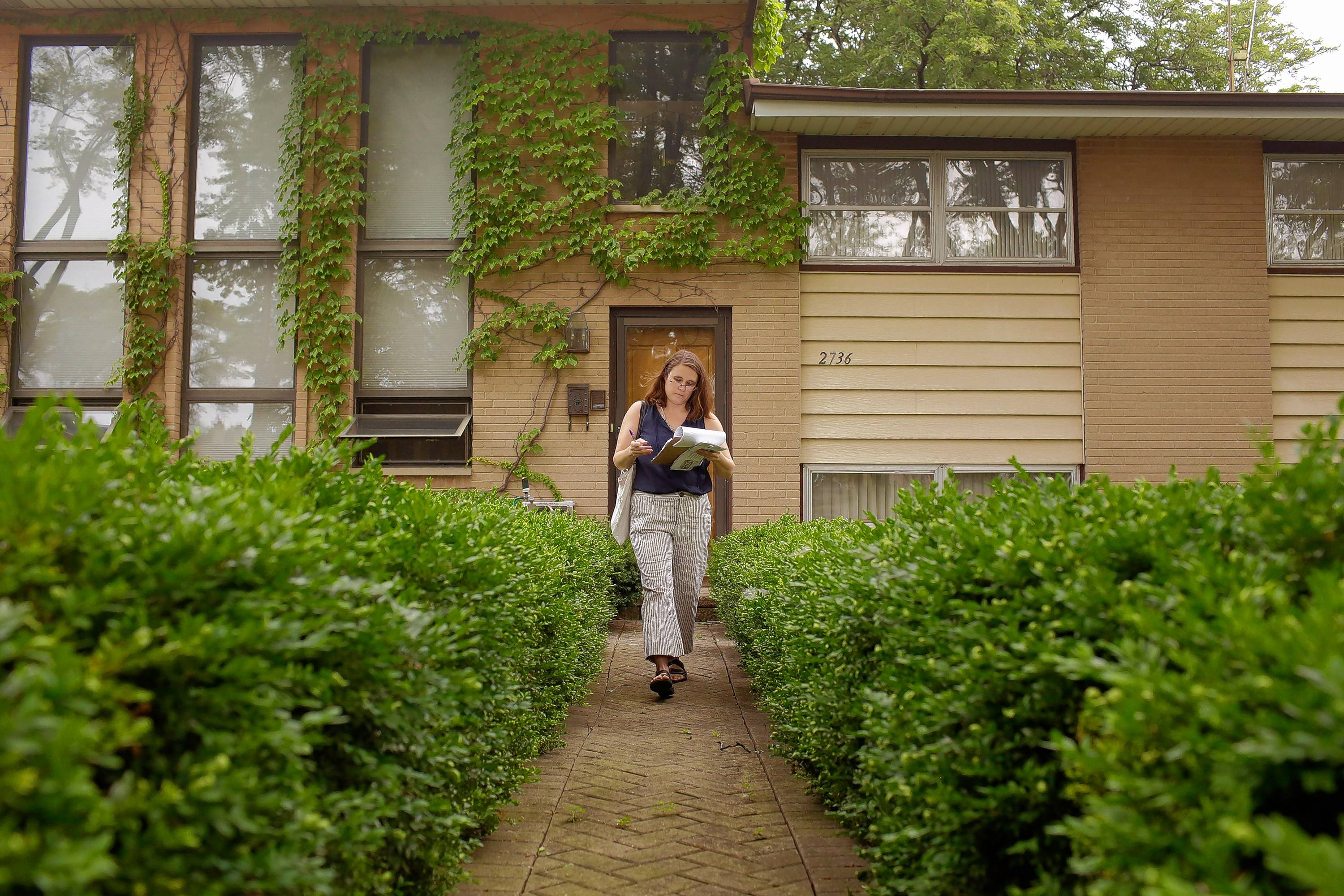 Amanda Biela, running for the Illinois House from the 15th District, canvasses a neighborhood in Glenview.