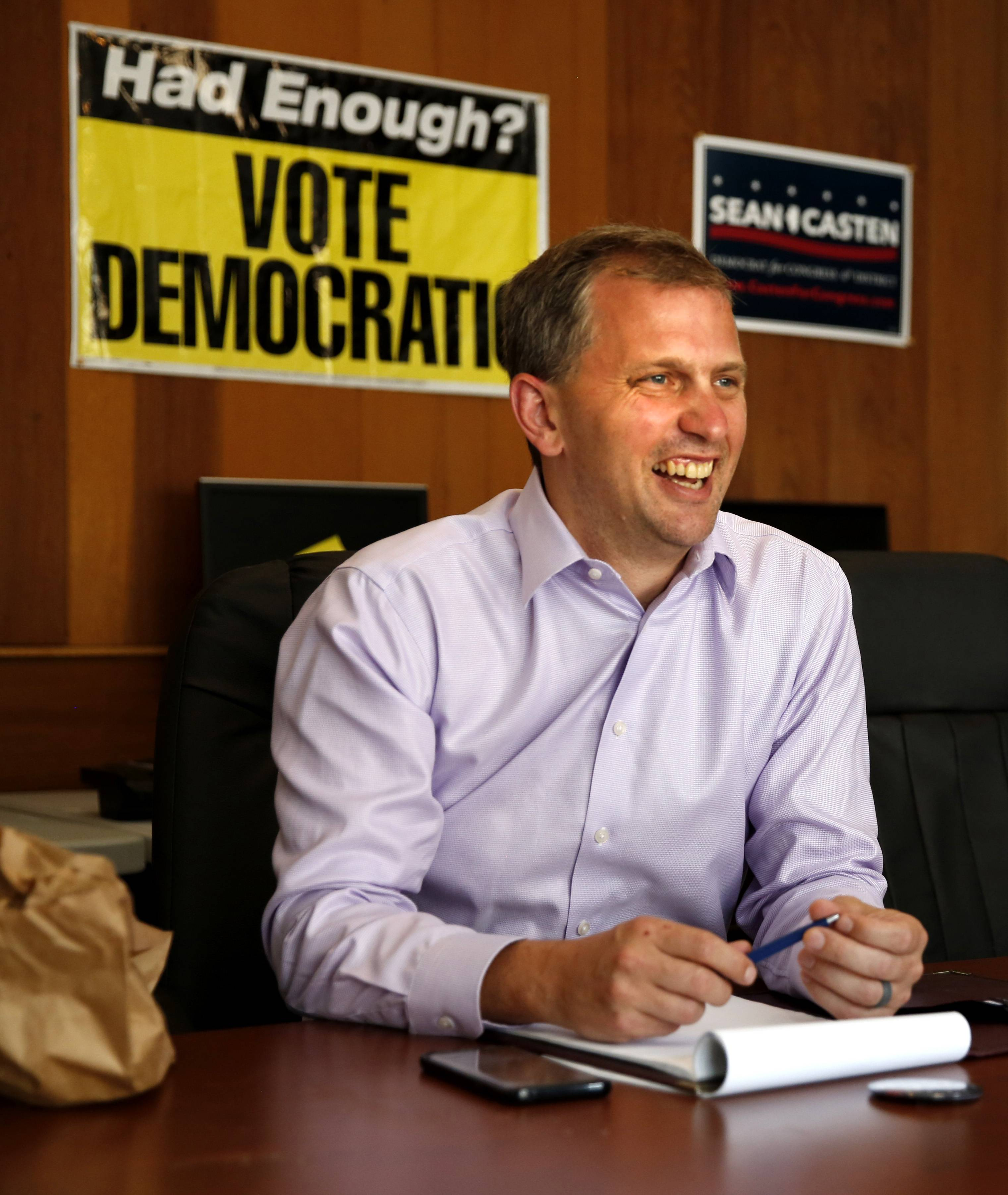 Graph paper and cellphone at hand, sandwich lunch to the side, Sean Casten recounts the daily activities of campaigning for the 6th District seat against incumbent Republican Peter Roskam of Wheaton.