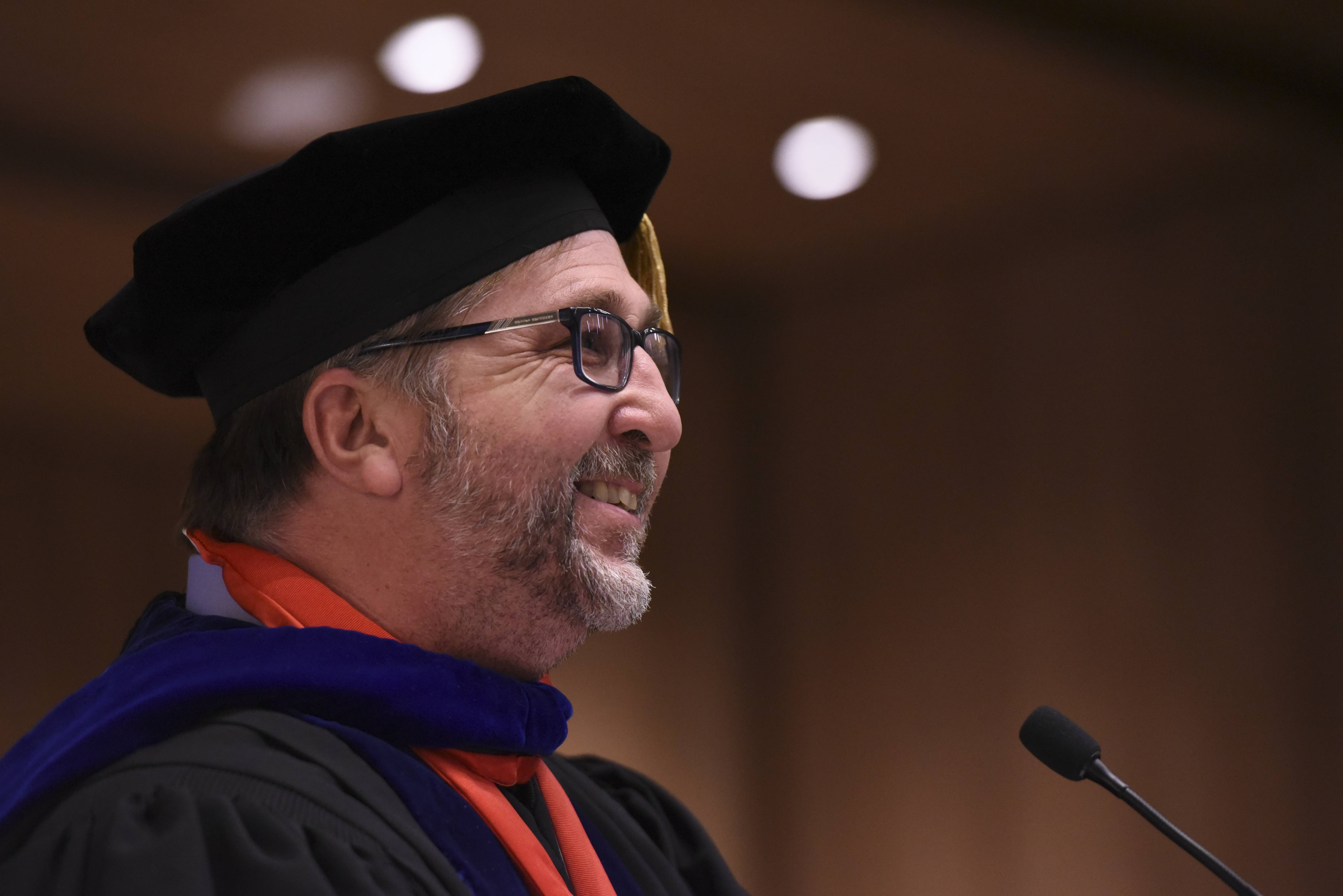 Jeff Knox/jknox@dailyherald.comDr. Michael Brophy, speaking here at Benedictine University's Hooding Ceremony in 2016, is reportedly out as president of the university.