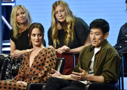 "Jake Choi, right, a cast member in the Disney ABC television series ""Single Parents,"" answers a question as fellow cast member Leighton Meester, front left, and co-creators/executive producers JJ Philbin, top left, and Elizabeth Meriwether look on during the 2018 Television Critics Association Summer Press Tour, Tuesday, Aug. 7, 2018, in Beverly Hills, Calif. (Photo by Chris Pizzello/Invision/AP)"
