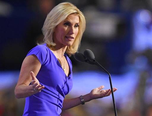 FILE - In this Wednesday, July 20, 2016, file photo, conservative political commentator Laura Ingraham speaks during the third day of the Republican National Convention in Cleveland. Ingraham says she disavows the support of white nationalists and claims that her views about the nation's demographic changes have been distorted. The Fox News personality responded to critics of her commentary that massive demographic changes that most Americans don't like have been forced upon the country by legal and illegal immigration.