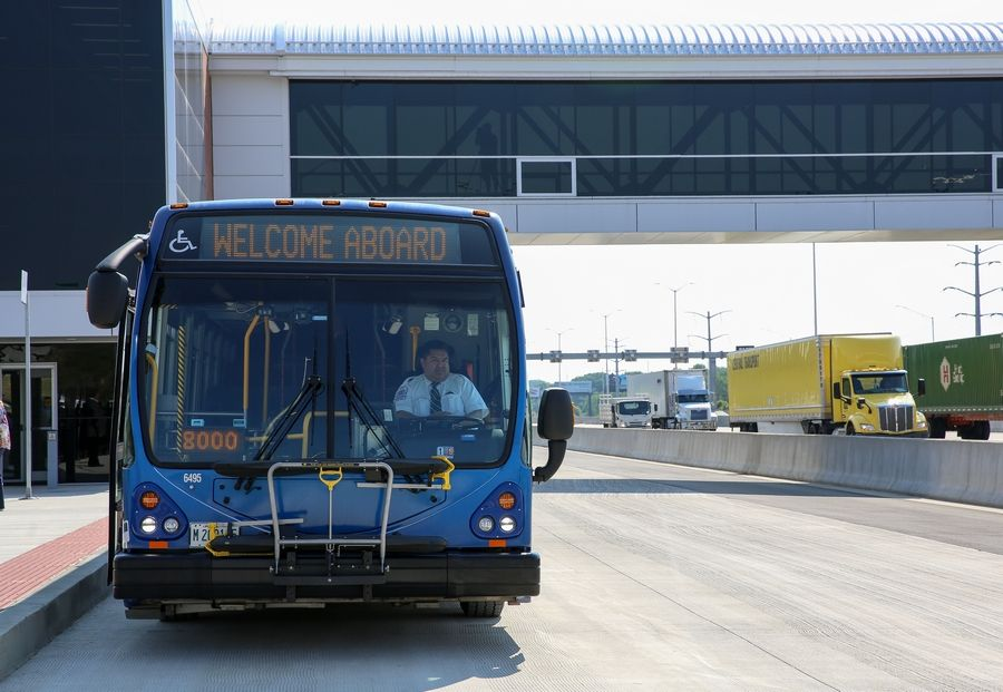 Pace buses will stop on a special lane of I-90 and pick up commuters who park in new lots nearby.