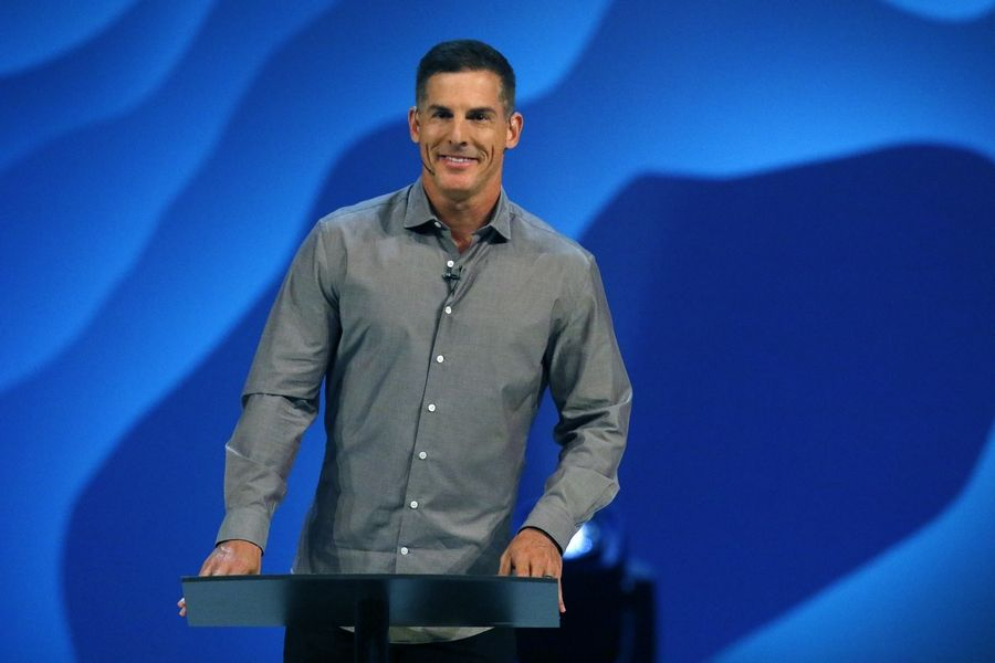 Craig Groeschel, co-founder and senior pastor of Life.Church based in suburban Oklahoma City, speaks at Willow Creek Community Church's Global Leadership Summit in South Barrington last week. As Willow Creek looks for new pastors, he said leaders should have courage, passion and integrity.