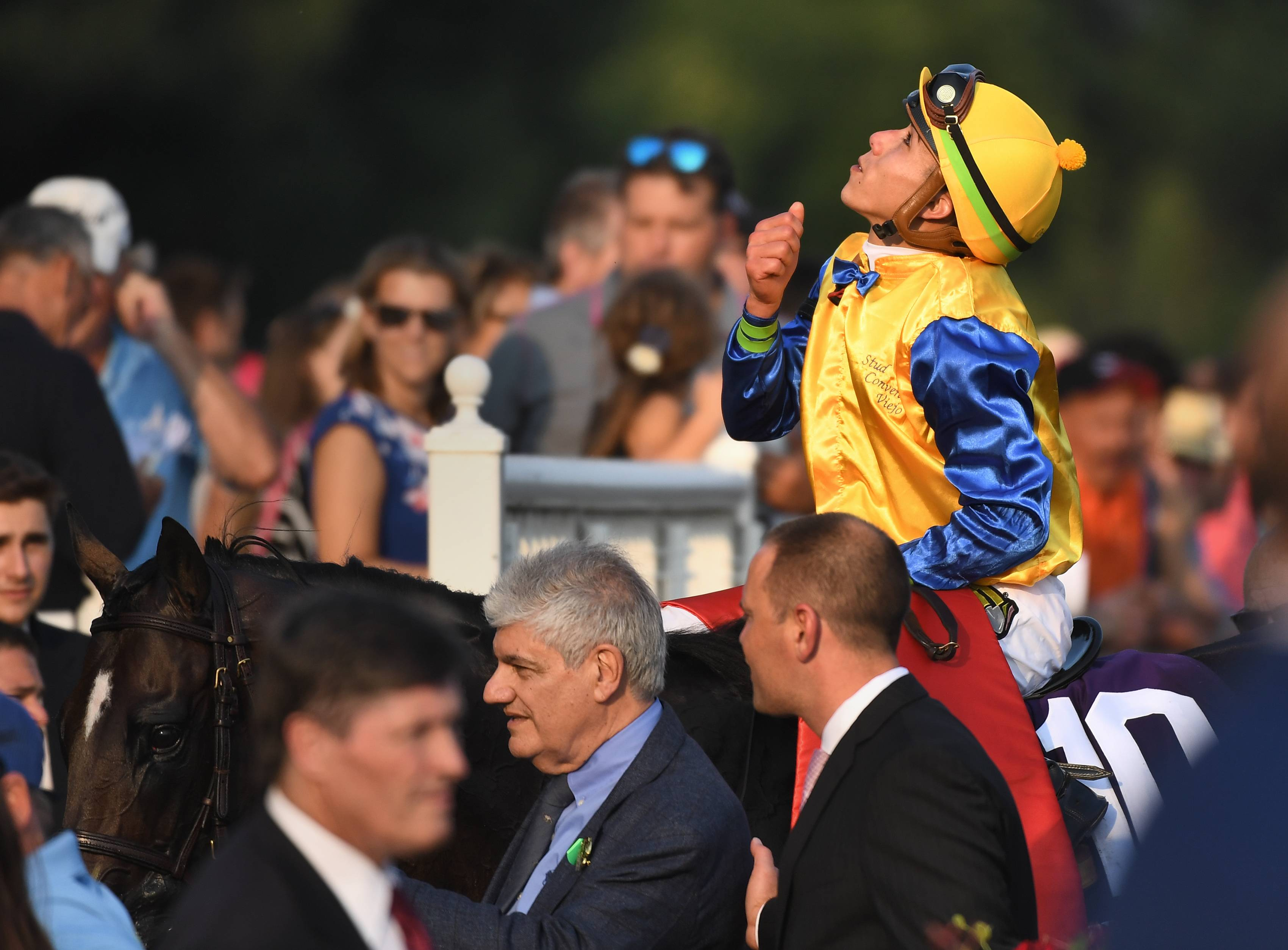 Jockey Irad Ortiz, Jr. looks up as he and Robert Bruce are led to the Winner's Circle after winning the 36th Arlington Million Day at Arlington Park in Arlington Heights Saturday.