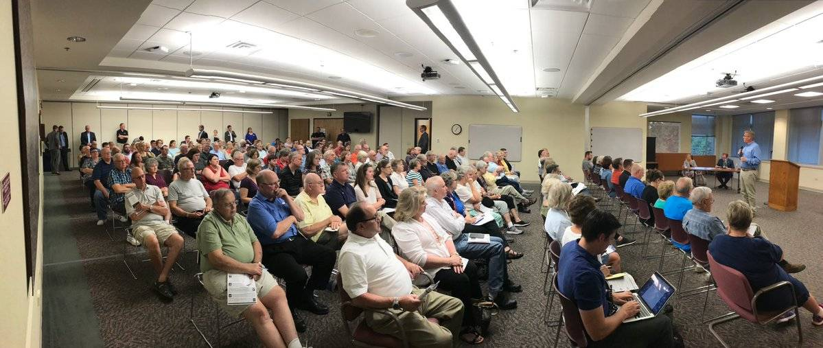 An image posted on the Twitter account of Rep. Randy Hultgren shows the audience of a Monday night meeting at the McHenry County Administrative Building in Woodstock in which Hultgren was questioned for his support of tax cuts that critics contend benefit mostly the rich.