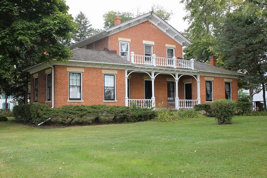 "The Corron Farm house, called the ""Old Brick"", was built by Robert Corron between 1850 and 1854 from bricks kilned from clay on the property. The home contains 40 windows and 40 doors with thresholds and window lintels quarried in Batavia."