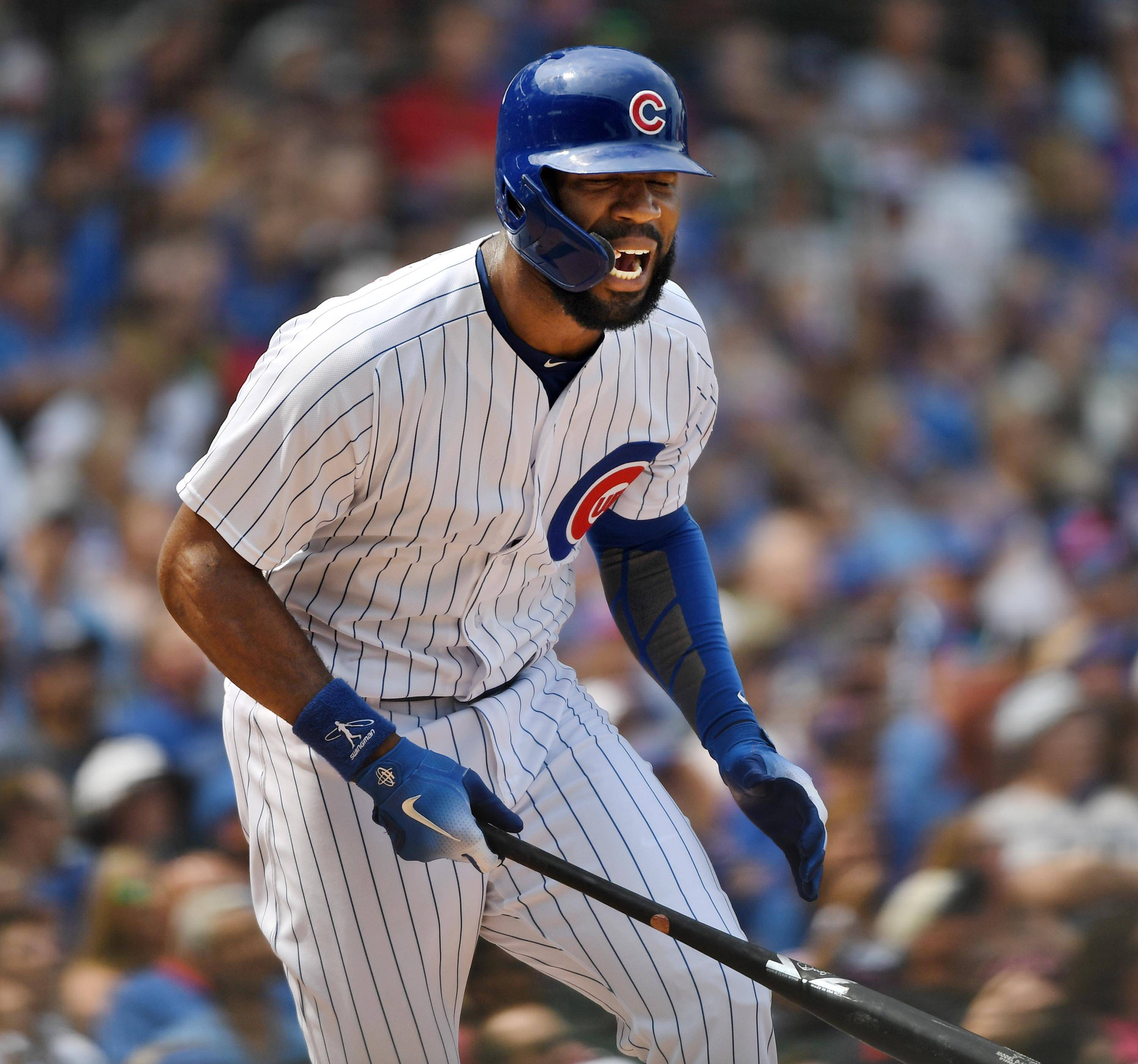 Chicago Cubs batter Jason Heyward yells after leading off the fourth inning with a fly out against Milwaukee Brewers starting pitcher Jhoulys Chacin Tuesday at Wrigley Field in Chicago.