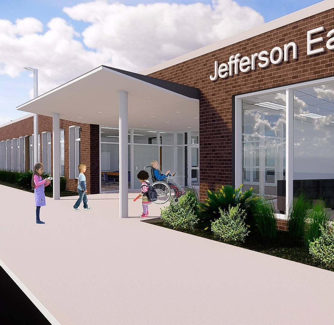 A rendering suggests what the entrance to the new Jefferson Early Childhood Center would look like. The proposal to build a new center now could go to voters.