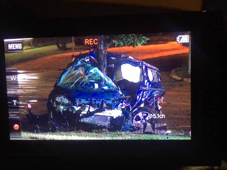 An image off a video recorder shows an SUV that crashed into a tree off the 500 block of East Schaumburg Road in Schaumburg after a three-vehicle crash Wednesday night.