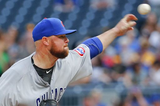 Chicago Cubs starting pitcher Jon Lester throws to a Pittsburgh Pirates batter during the first inning of a baseball game Thursday, Aug. 16, 2018, in Pittsburgh.