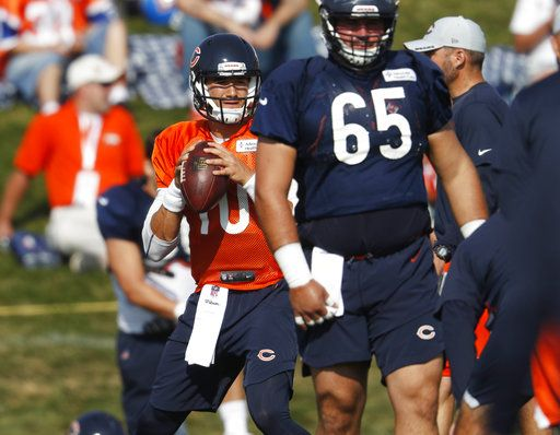 Chicago Bears quarterback Mitchell Trubisky takes part in drills during a joint NFL football training camp session with the Denver Broncos Thursday, Aug. 16, 2018, at Broncos' headquarters in Englewood, Colo.
