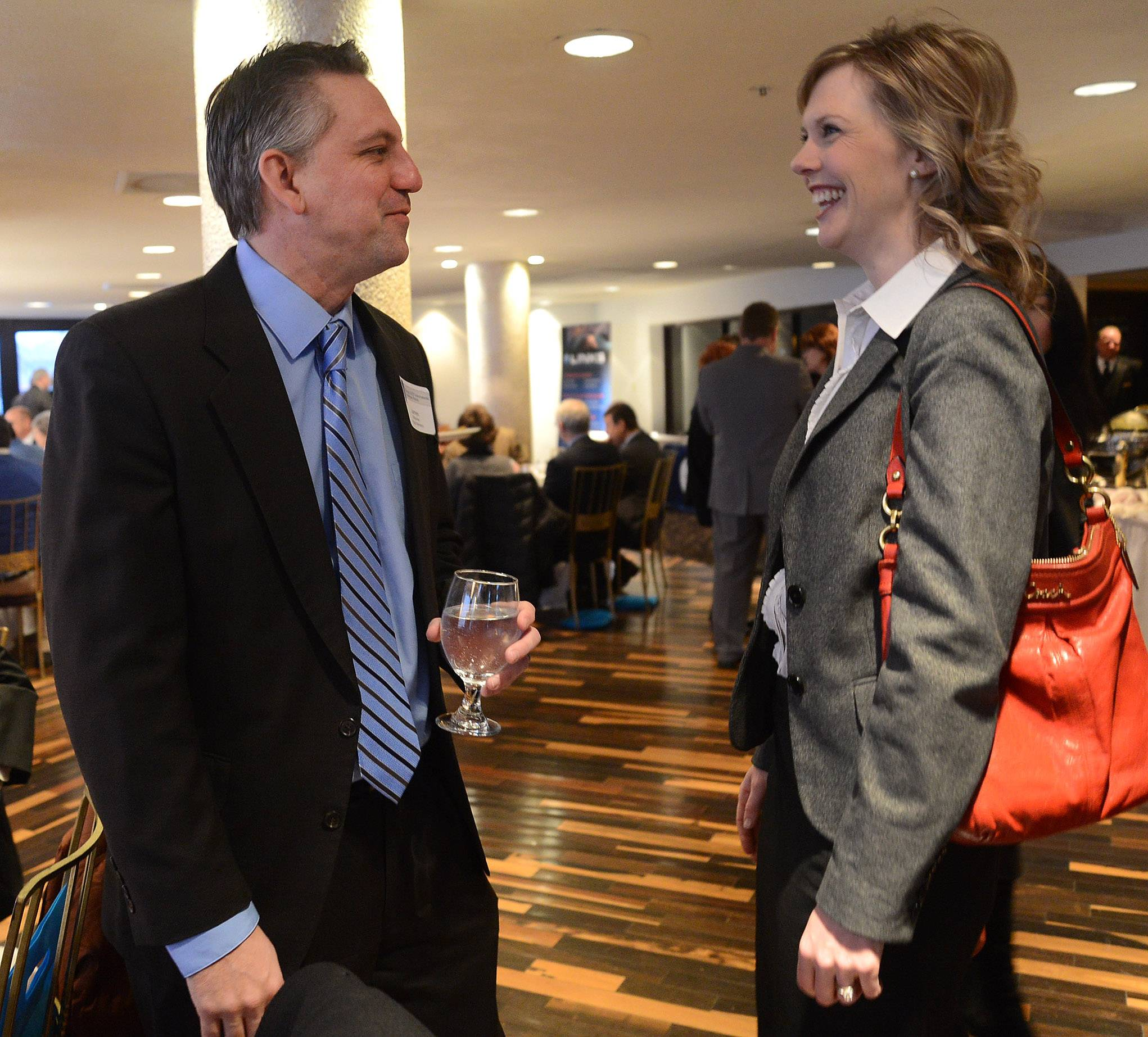 James Urbaniec spoke at an event with Lisa Gilbert, who has been named president of the Schaumburg Business Association.