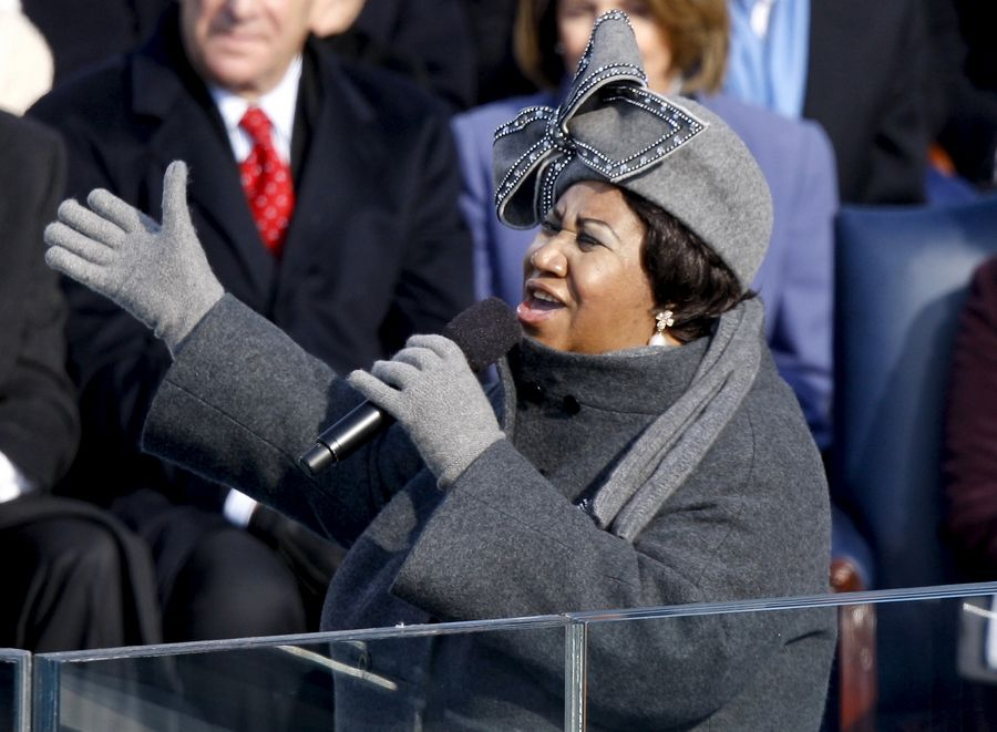 Singer Aretha Franklin performs during the inauguration ceremony for U.S. President Barack Obama at the U.S. Capitol in Washington.
