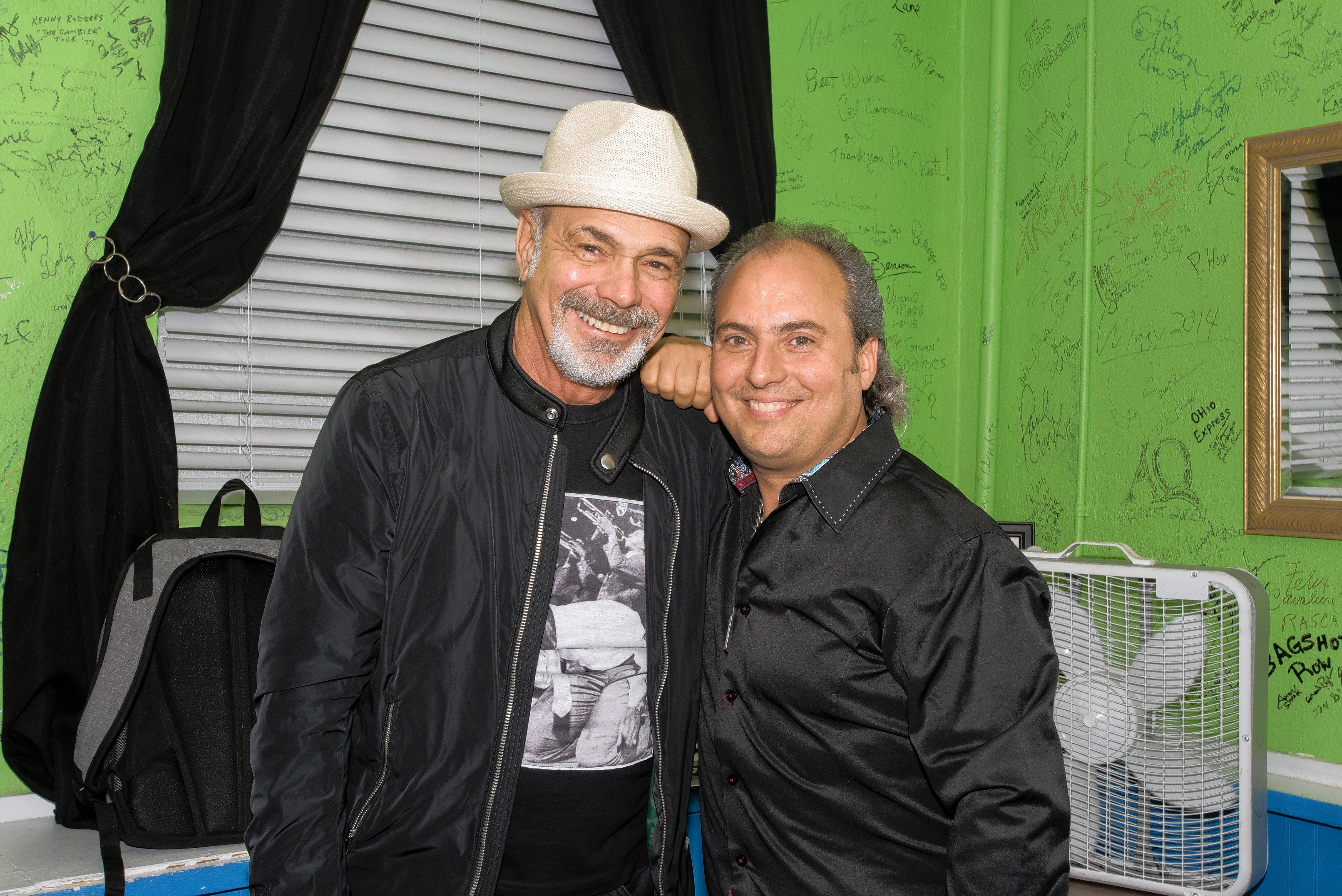 Danny Seraphine, left, original drummer of the band Chicago, and fellow Chicago musicians recently joined Ron Onesti at the Arcada Theatre in St. Charles for a Chicago-style rock concert.