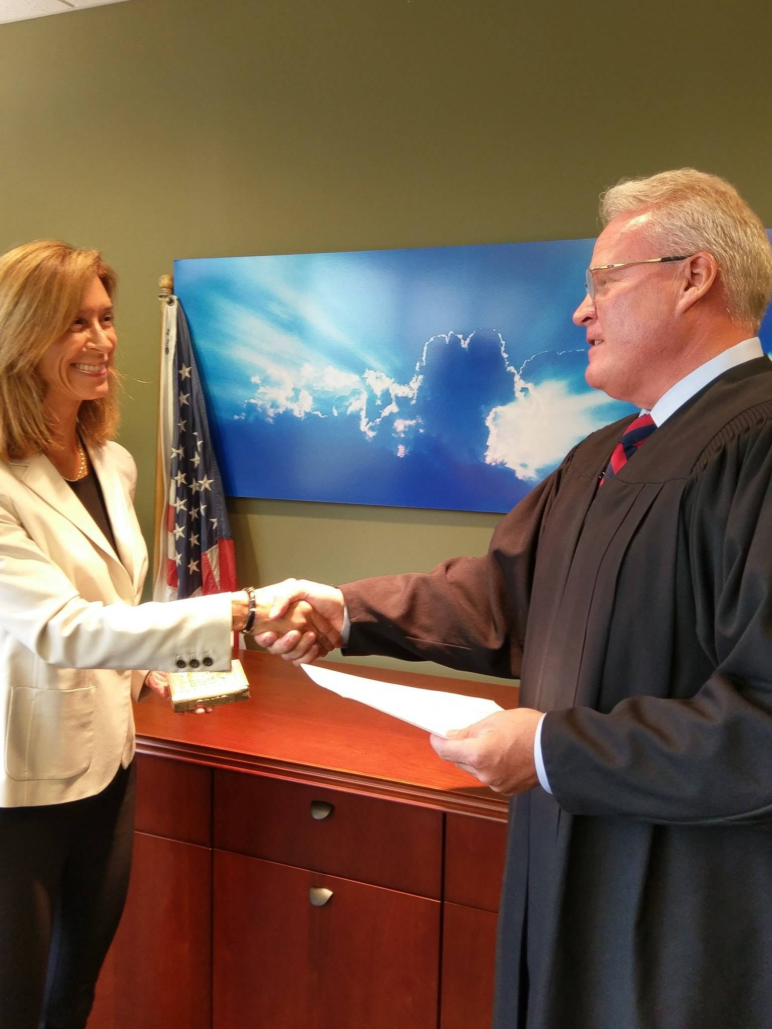 Helene Miller Walsh was sworn in as Republican state representative Saturday by Lake County Circuit Judge Christopher Stride to fill the remainder of Nick Sauer's term in House District 51.