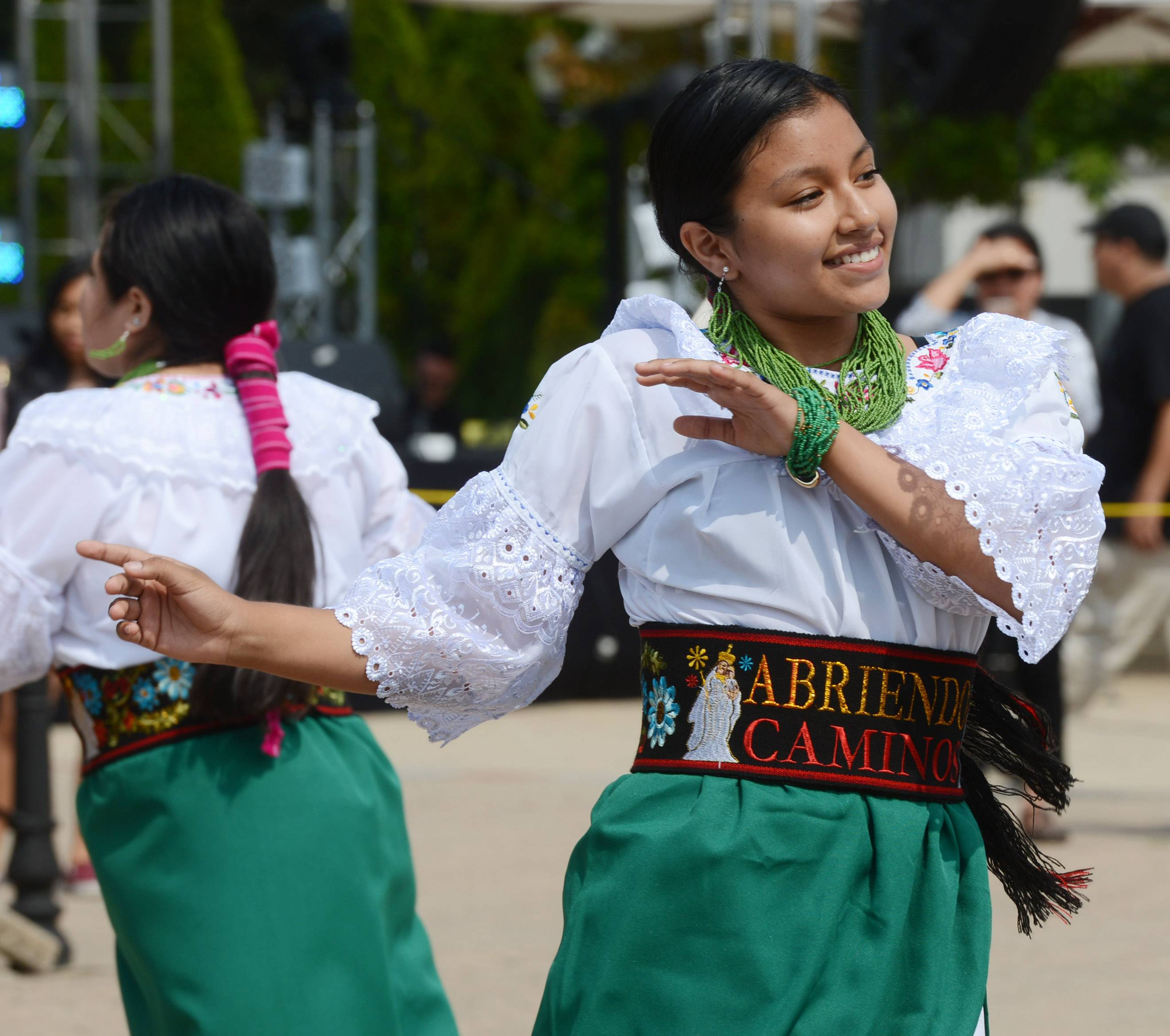 Gissela Rodriguez of the group Abriendo Caminos dances during the Guadalupe Summer Celebration at the Shrine of Guadalupe in Des Plaines Saturday.