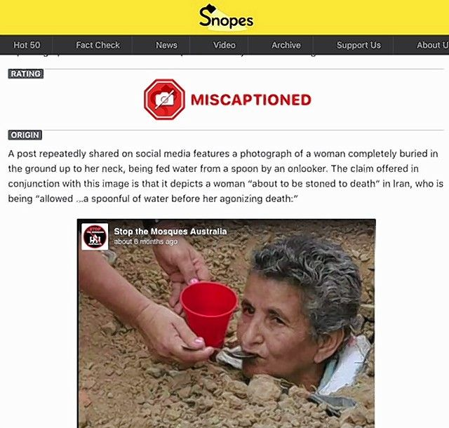 Maria Gabriela is among people voluntarily buried as part of a protest in Columbia, not a woman about to be stoned in Iran, as social media users claim, according to Snopes.com.