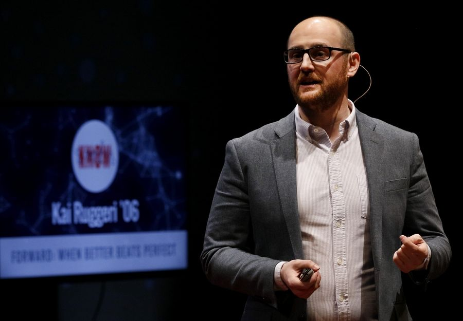 "Kai Ruggeri delivers his talk, ""Forward: When Better Beats Perfect,"" during a TEDx event at North Central College in Naperville last spring focusing on social entrepreneurship."
