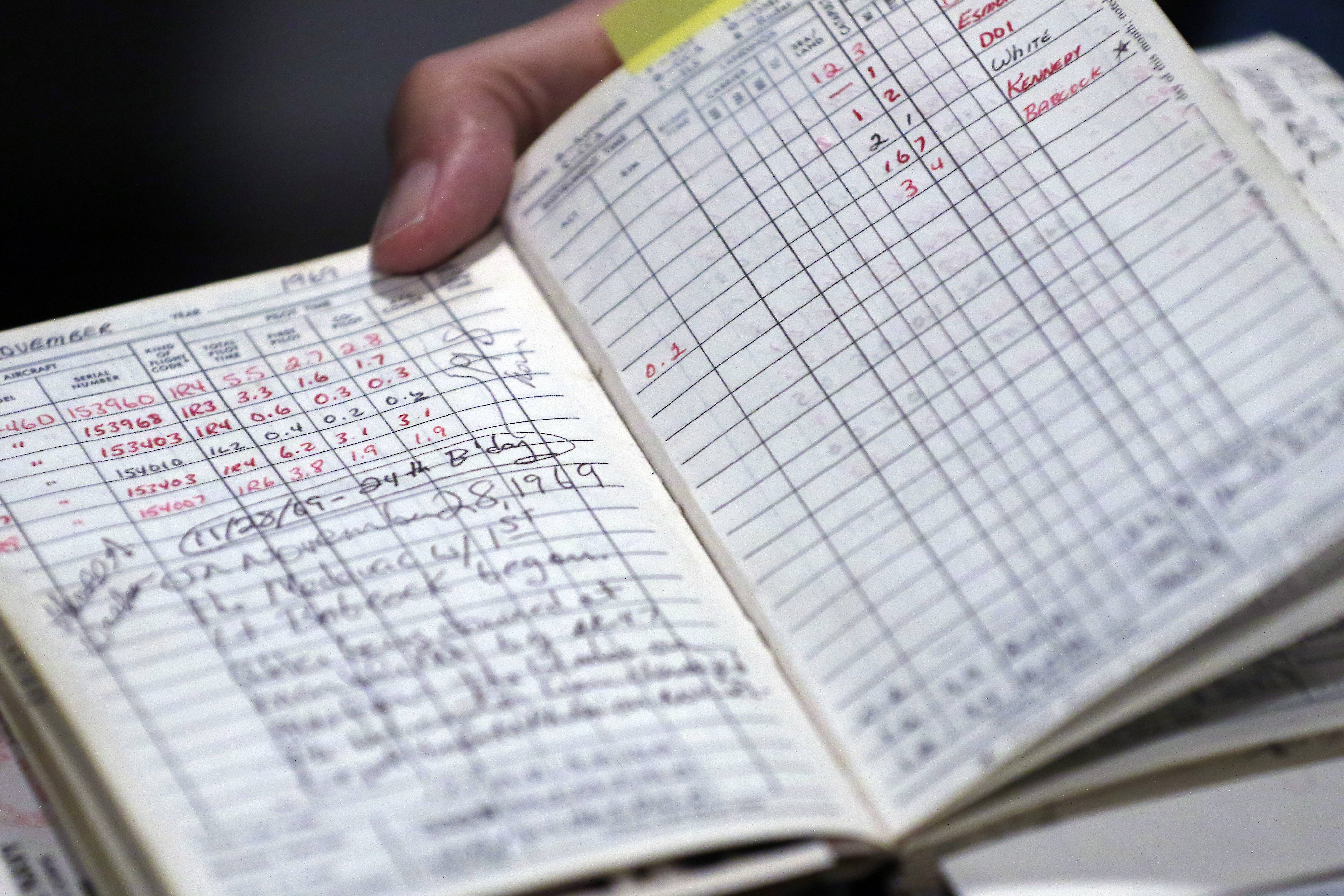 Harold Walker still has the log book showing every helicopter flight he piloted during the Vietnam War. Any writing in red indicates a time when the helicopter flew into a combat zone.