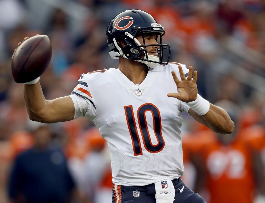 Chicago Bears quarterback Mitchell Trubisky (10) throws against the Denver Broncos during the first half of a preseason NFL football game, Saturday, Aug. 18, 2018, in Denver.