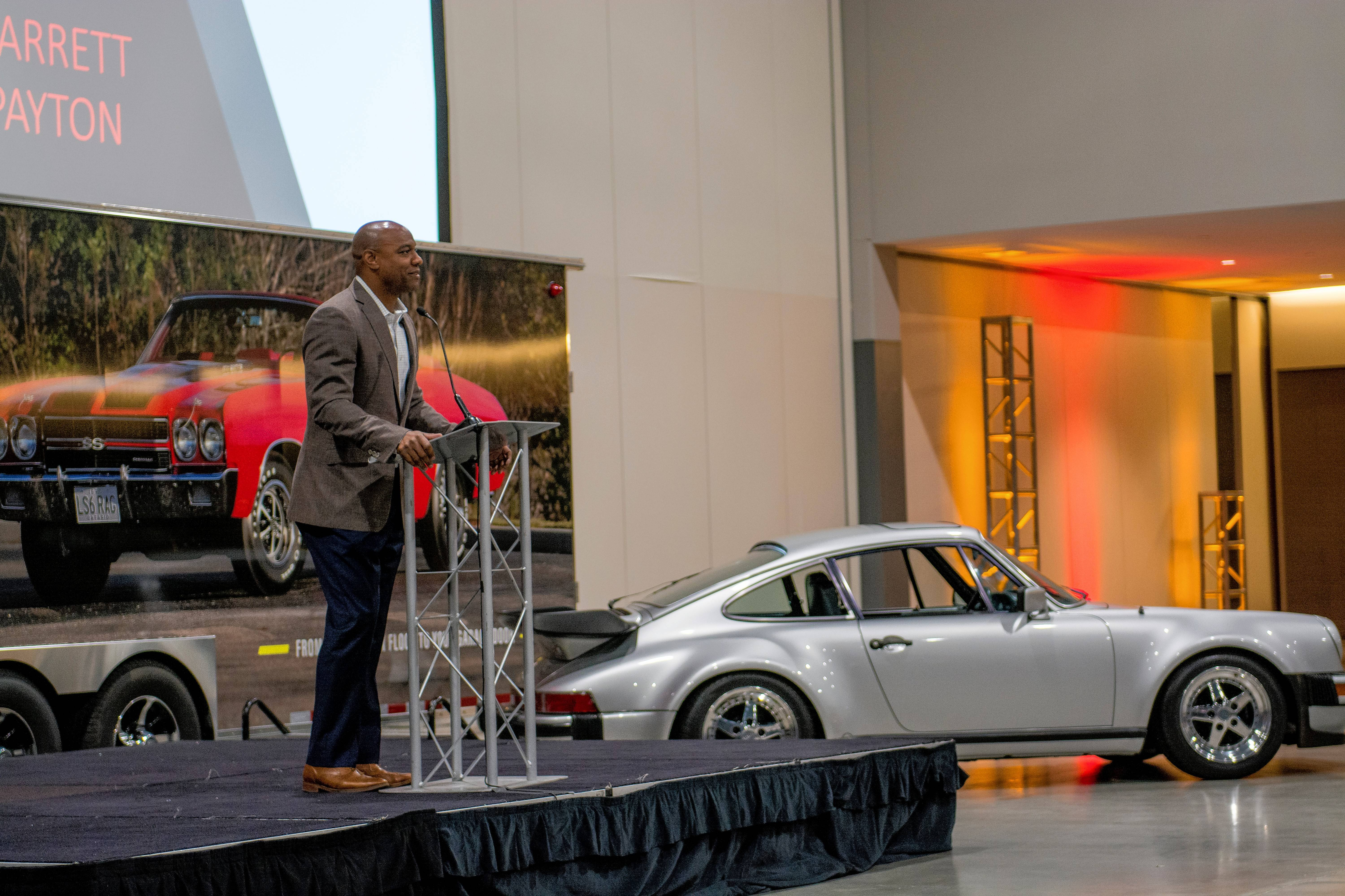 Jarrett Payton attended a news conference last week with Mecum Auctions in Schaumburg to announce his upcoming sale of a 1979 Porsche 930 Turbo once owned by his father, NFL Hall of Famer Walter Payton.