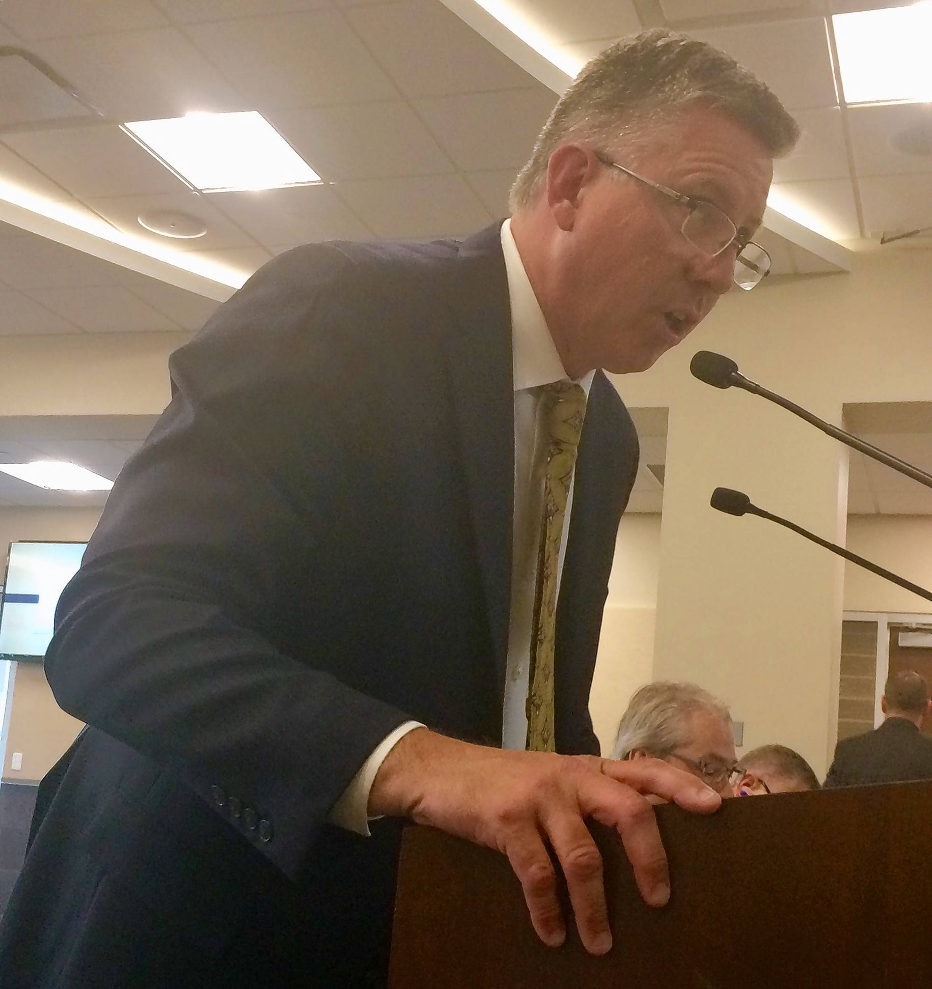 Arlington Heights real estate consultant Steve McEwen attended last week's Palatine village council session to speak against a measure requiring automatic sprinkler systems in new single-family homes.