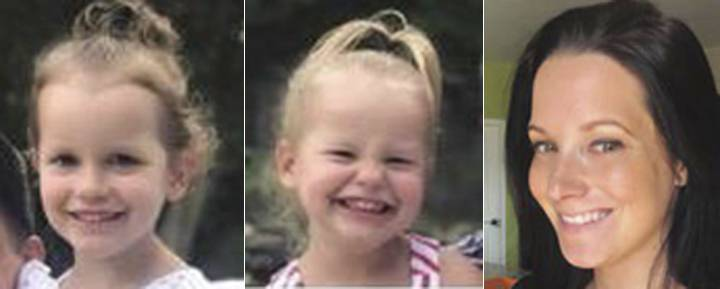 This photo combo of images provided by The Colorado Bureau of Investigation shows, from left, Bella Watts, Celeste Watts and Shanann Watts. The Frederick Police Department said Chris Watts was taken into custody. Watt's pregnant wife, 34-year-old Shanann Watts, and their two daughters, 4-year-old Bella and 3-year-old Celeste were reported missing Monday, Aug. 13, 2018. The police said on Twitter early Thursday that Chris Watts will be held at the Weld County Jail. He has not yet been charged. (The Colorado Bureau of Investigation via AP)
