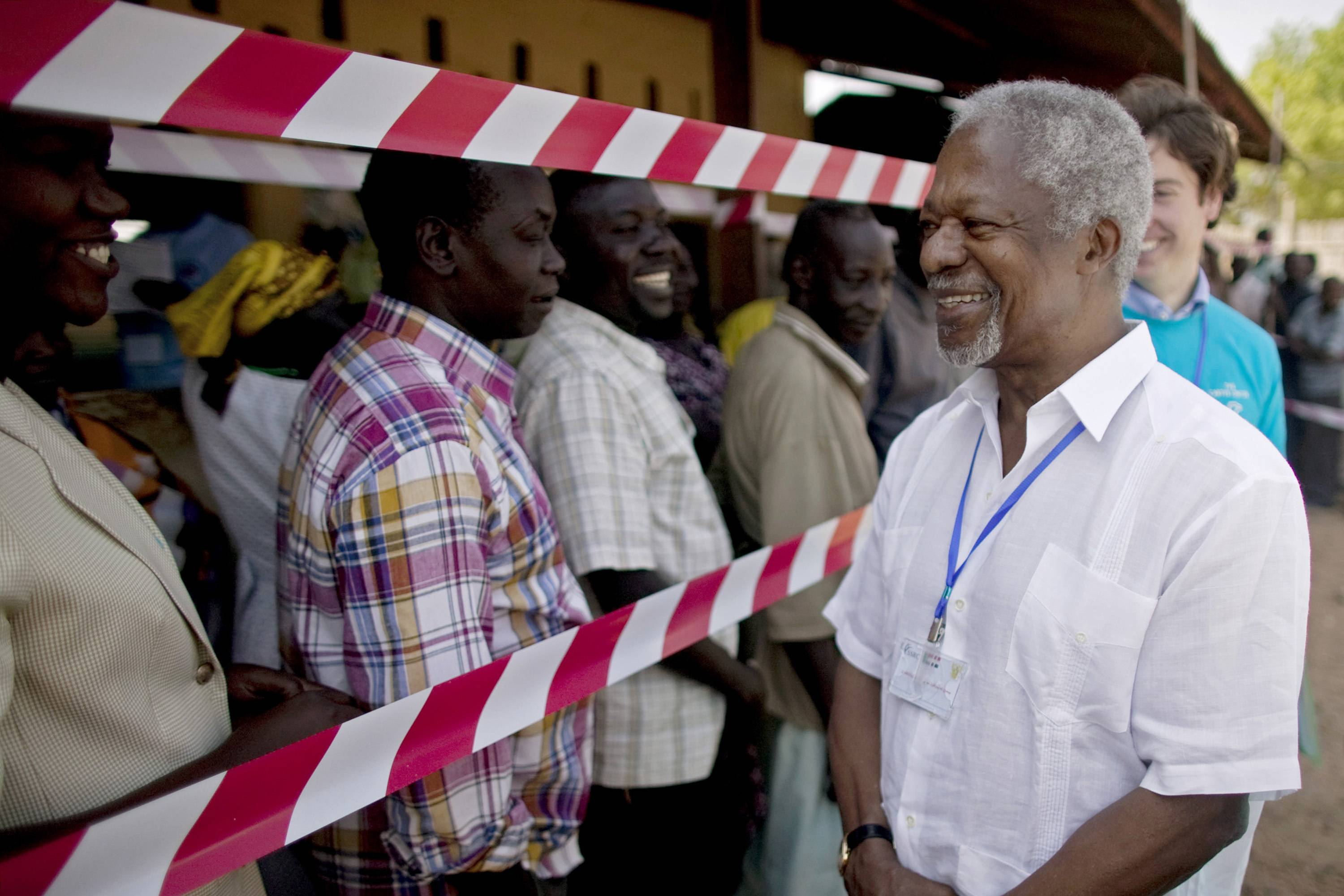 FILE - In this Sunday, Jan. 9, 2011 file photo, former United Nations Secretary-General Kofi Annan, visits a independence referendum polling center in the southern Sudanese city of Juba. Annan left the U.N. far more committed to combating poverty, promoting equality and fighting for human rights and until his death Saturday, Aug. 18, 2018, he was speaking out about the turbulent world he saw moving from nations working together to solve problems to growing nationalism. (AP Photo/Pete Muller)