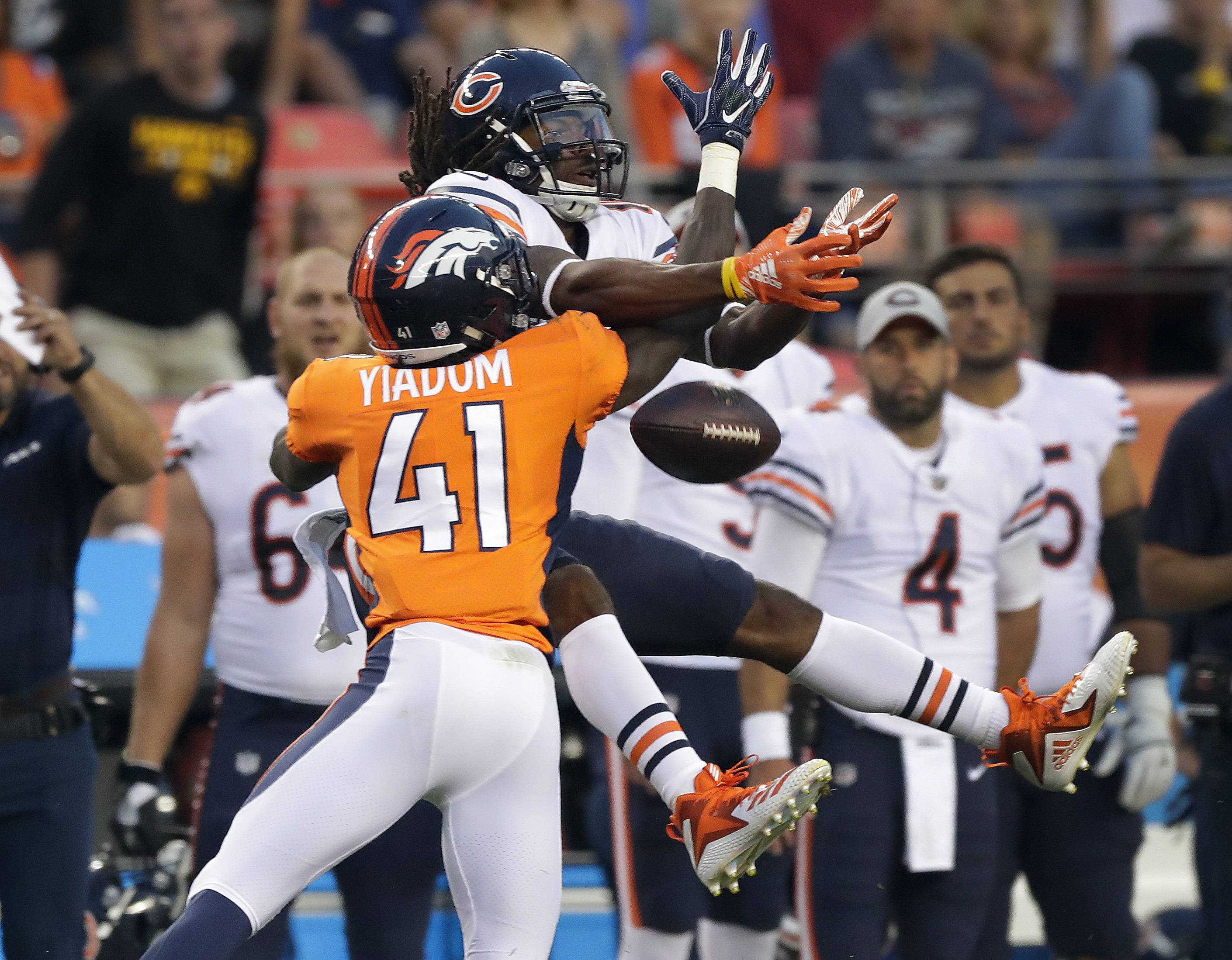Denver Broncos cornerback Isaac Yiadom (41) breaks up a pass intended for Chicago Bears wide receiver Kevin White during the first half of a preseason NFL football game, Saturday, Aug. 18, 2018, in Denver.