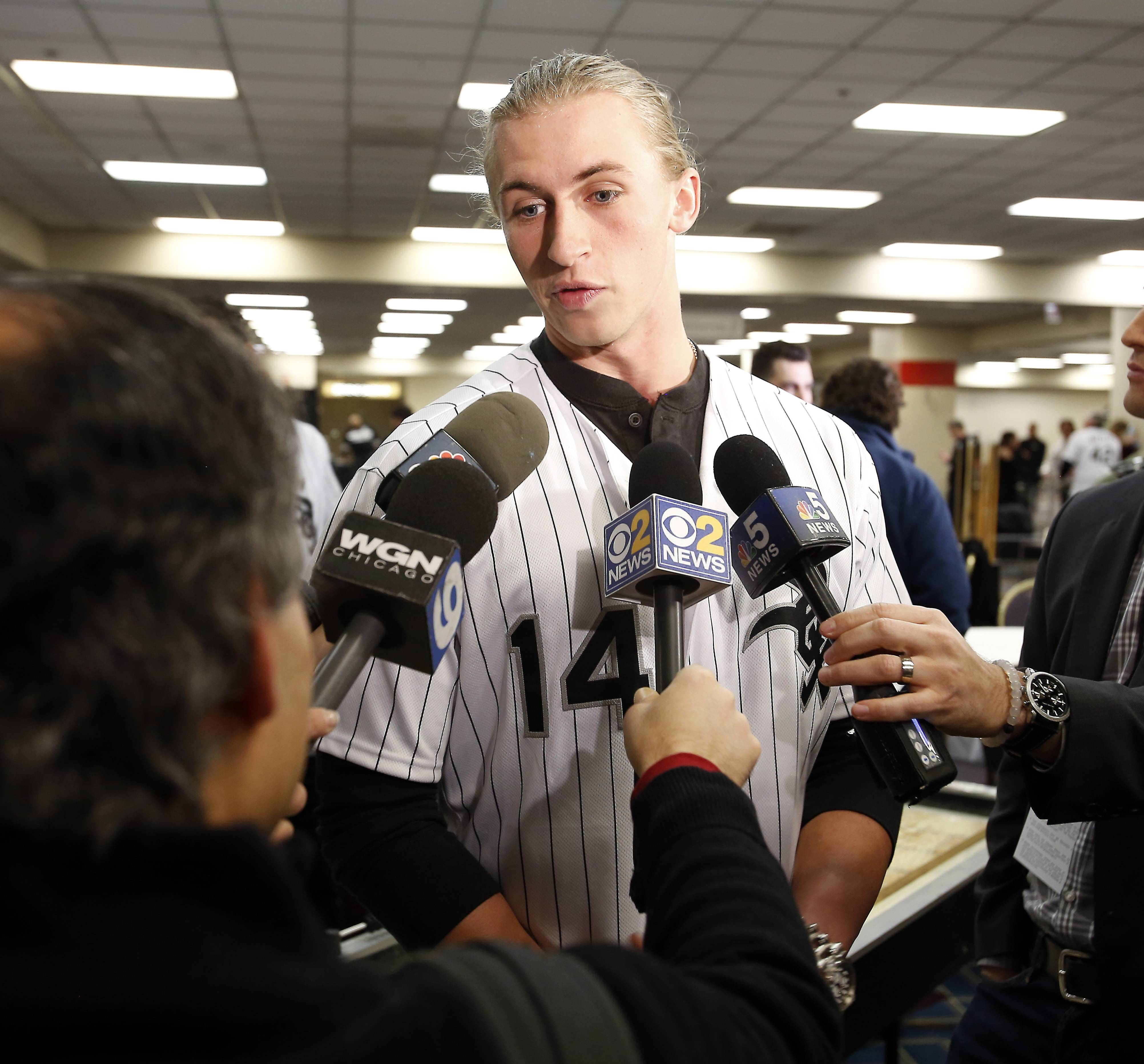 Michael Kopech talks to the media during SoxFest at the Hilton Chicago.