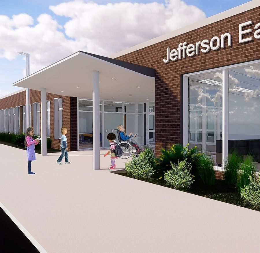 A rendering by Legat Architects shows the entrance for a new Jefferson Early Childhood Center that would replace the 1950s-era building on the existing site in Wheaton.