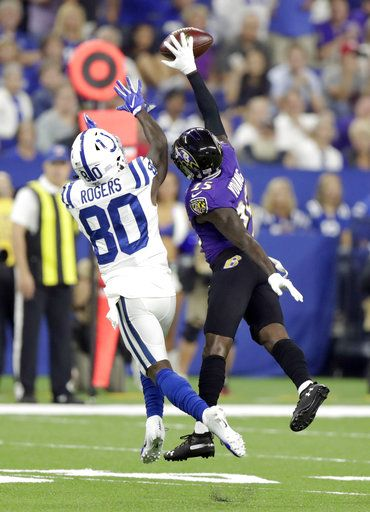Baltimore Ravens cornerback Tavon Young (25) breaks up a pass intended for Indianapolis Colts wide receiver Chester Rogers (80) in the first half of an NFL preseason football game in Indianapolis, Monday, Aug. 20, 2018.