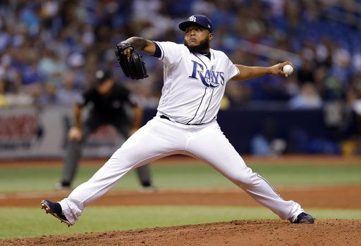 Tampa Bay Rays pitcher Jose Alvarado delivers to the Kansas City Royals during the ninth inning of a baseball game Monday, Aug. 20, 2018, in St. Petersburg, Fla.