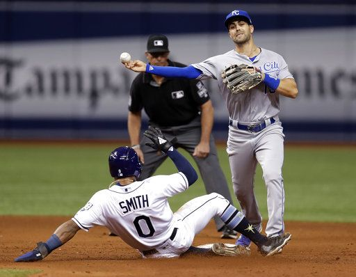 Kansas City Royals second baseman Whit Merrifield forces Tampa Bay Rays' Mallex Smith (0) at second base and turns a double play on Matt Duffy during the fifth inning of a baseball game Monday, Aug. 20, 2018, in St. Petersburg, Fla.
