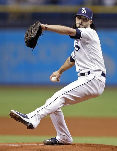 Tampa Bay Rays' Hunter Wood goes into his windup against the Kansas City Royals during the first inning of a baseball game Monday, Aug. 20, 2018, in St. Petersburg, Fla.